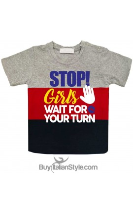 "Boy Striped T-Shirt ""STOP! Girls...wait for your turn"""