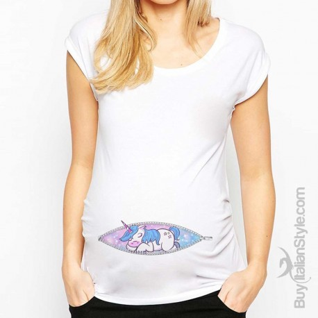 "T-shirt premaman manica corta ""Zip Unicorno"""