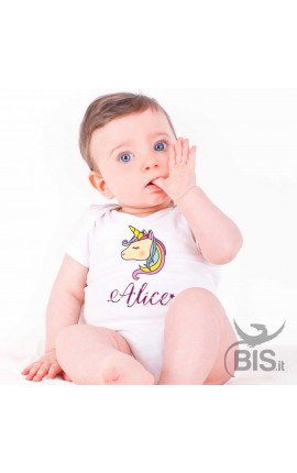 Bodysuit Unicorn Print, customizable with name