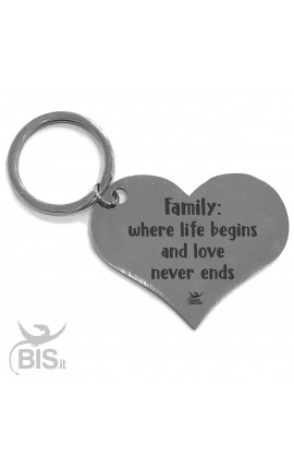"Personalized Heart Shaped Keyring ""Family: where life begins and love never ends"""