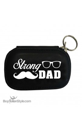 "Personalized Leather KEY HOLDER & COIN PURSE ""Strong DAD"""