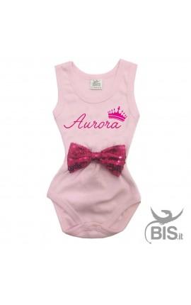 Body neonata personalizzabile con nome e applicazione fiocco PAILLETTE