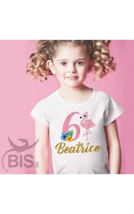 T-shirt bimba compleanno a tema FENICOTTERI