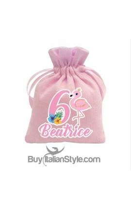 Personalized Birthday Sack- Flamingo 5 pieces Kit