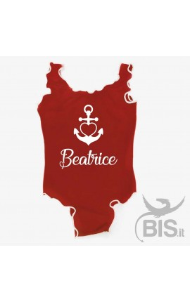 "Girl's One Piece Swimsuit ""Anchor&Name"""