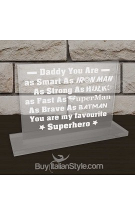 "Personalized Father's Day Office Gifts for Dad - Plate ""Favourite SuperHero"""