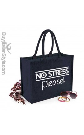 "Borsa da Mare in juta colorata ""no stress please!"""