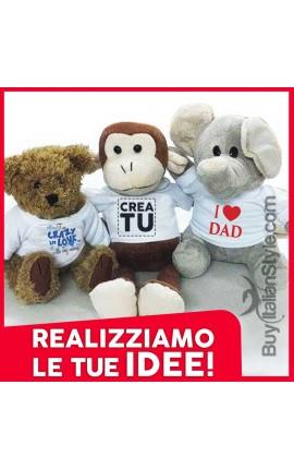 Peluches Personalizzabile con testo e foto Orsacchiotto -Elefante e Scimmia