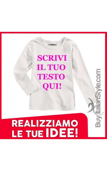 T-shirt bimba manica lunga PERSONALIZZABILE con testo