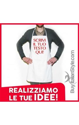 Grembiule da cucina personalizzabile con frase o testo
