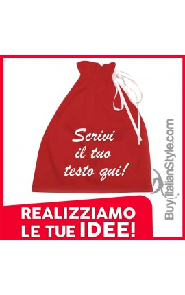 Red satin bag, customizable