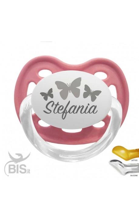 Ciuccio personalizzabile con farfalle e nome