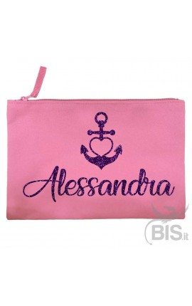 Personalized Canvas Pochette with Anchor+YOUR NAME