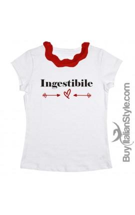 "T-shirt colletto plissettato ""INGESTIBILE"""