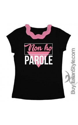 "T-shirt colletto plissettato ""No ho parole"""