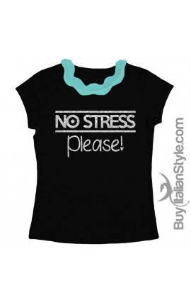 "T-shirt colletto plissettato ""NO STRESS please"" glitterato"