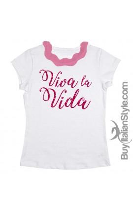 """T-shirt colletto plissettato """"Viva la vida"""" glitterato"""