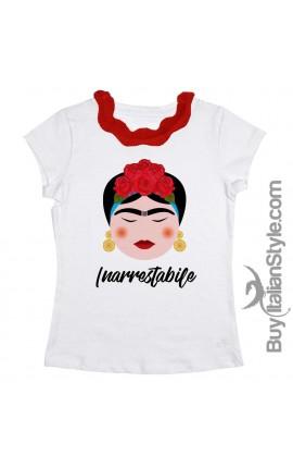 T-shirt colletto plissettato rosso Frida INARRESTABILE