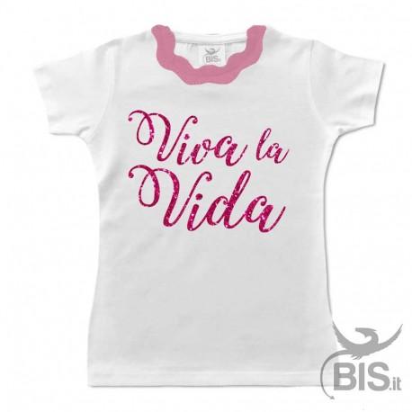 "T-shirt bimba colletto plissettato ""Viva la vida"" glitterato"