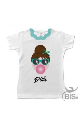 T-shirt bimba colletto plissettato verde Audrey piccola DIVA