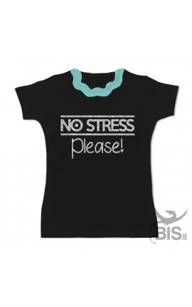 "T-shirt bimba colletto plissettato ""NO STRESS please"" glitterato"