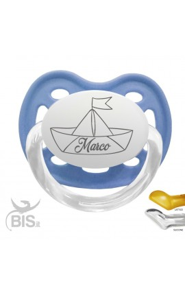Soother with name and printed boat