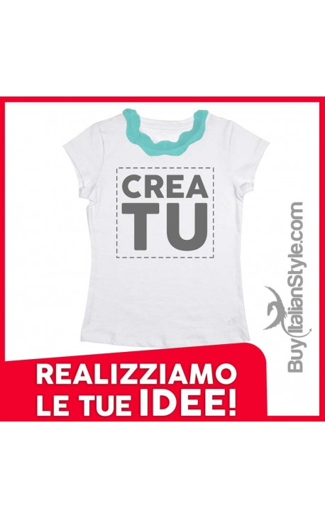 T-shirt colletto plissettato PERSONALIZZABILE