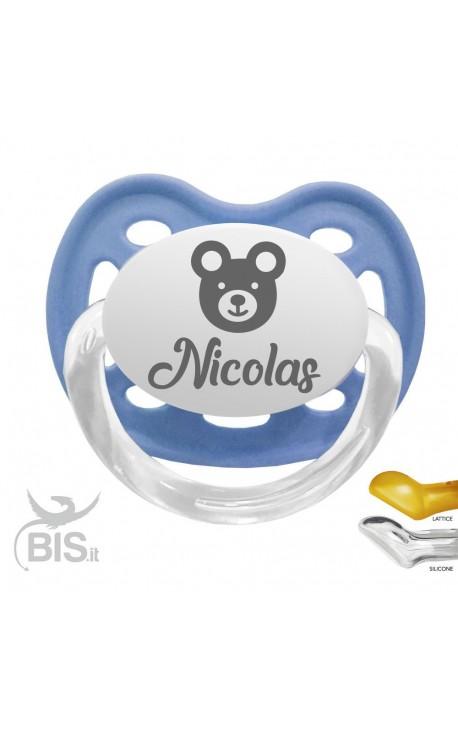 Ciucciotto con orsetto personalizzabile con nome