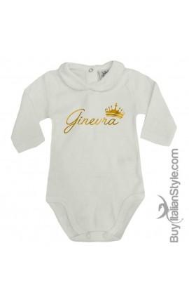 """Body colletto neonata manica lunga """"Nome e corona"""""""