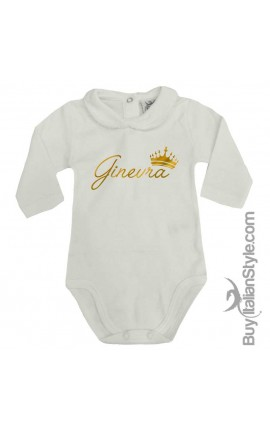 """Baby Girl's Bodysuit with lace-bordered Collar """"Name & Crown"""""""