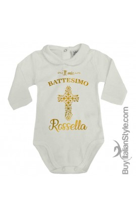 "Baby Girl's Bodysuit with lace-bordered Collar ""Baptism"""