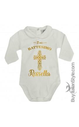"""Body colletto neonata manica lunga """"Battesimo"""""""