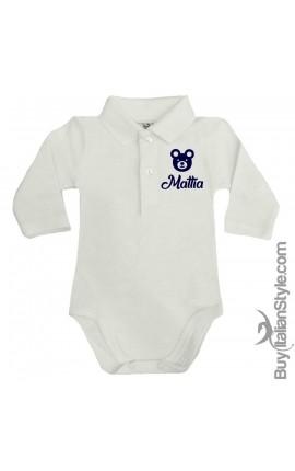 "Personalized Polo Shirt Bodysuit ""LITTLE BEAR"""