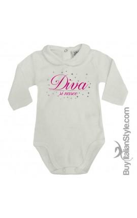 """Body colletto neonata manica lunga """"Diva si nasce"""""""