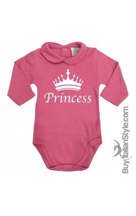 """Body colletto neonata manica lunga """"Princess"""""""