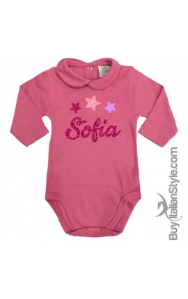 Body colletto neonata manica lunga Stelline e nome GLITTER