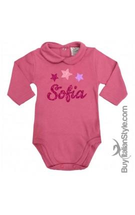 Body neonata manica lunga con colletto personalizzabile con Stelline e nome GLITTER