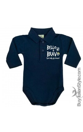 "Body neonato polo manica lunga ""BELLO & BRAVO"""