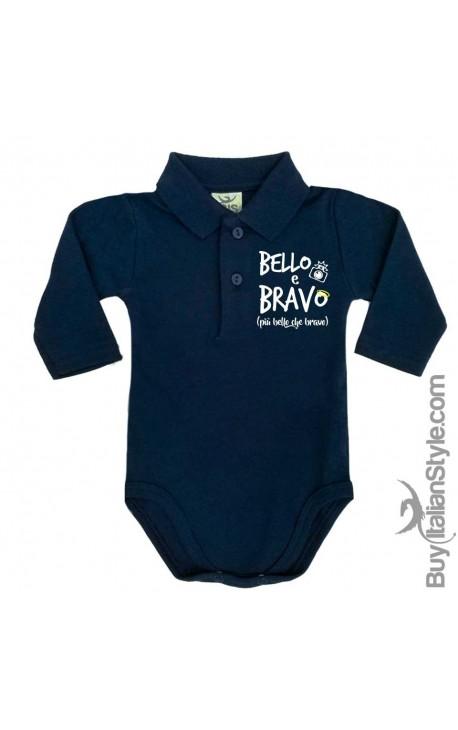 """Body neonato polo manica lunga """"BELLO & BRAVO"""""""