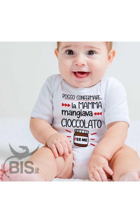 """Body neonato """"posso confermare, la mamma mangiava cioccolato per me!"""""""