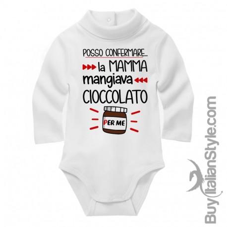 """Body neonato lupetto """"posso confermare, la mamma mangiava cioccolato per me!"""""""