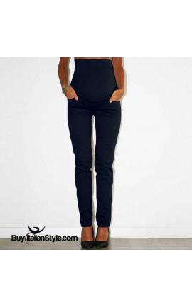 Pantaloni premaman con fascia contenitiva elasticizzata