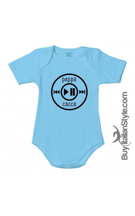 """Body neonato con stampa divertente """"pappa cacca"""""""