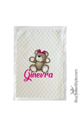 Customizable winter blanket with name and Teddy bear
