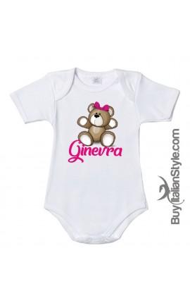 """Personalized Baby Bodysuit, """"Teddy Bear"""" print"""