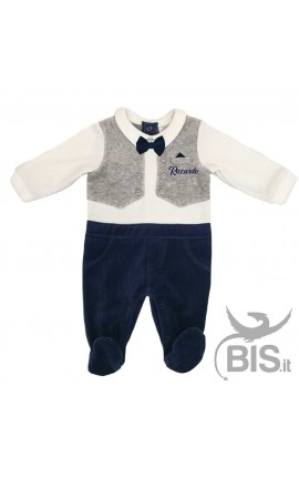 Personalized Baby Boy Waistcoat and Bow Tie Romper