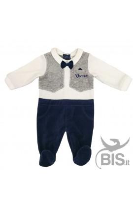 b47a2767acbd Tutina neonato con gilet e papillon personalizzabile con nome