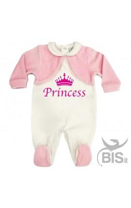 "Tutina in ciniglia bianca e rosa ""Princess"""