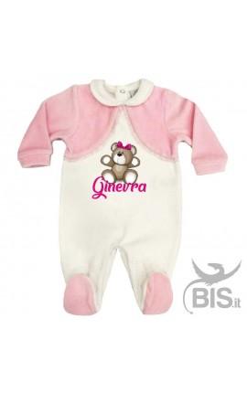 Tutina in ciniglia neonata bianca e rosa personalizzabile con orsetto