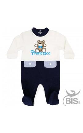 Tutina neonato bi-colore invernale personalizzabile con orsetto